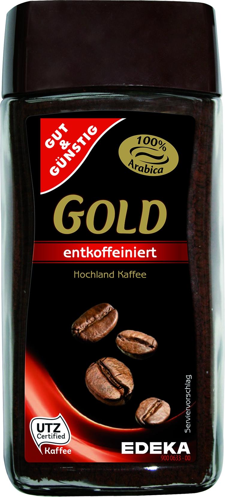 Gold Instant Kaffee entkoffeiniert