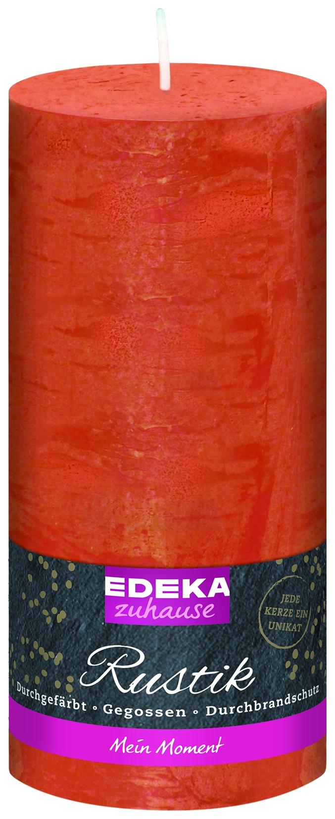 Stumpenkerze Rustik orange 160x70mm