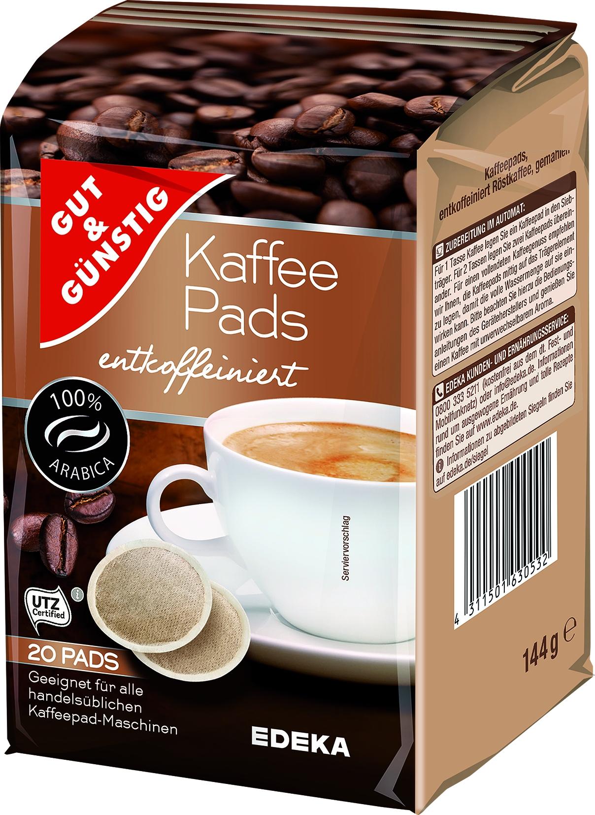 Kaffee Pads entkoffeiniert
