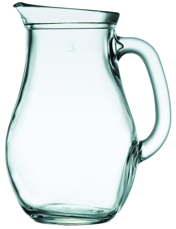 Krug aus Glas mit Fuellstrich 1L