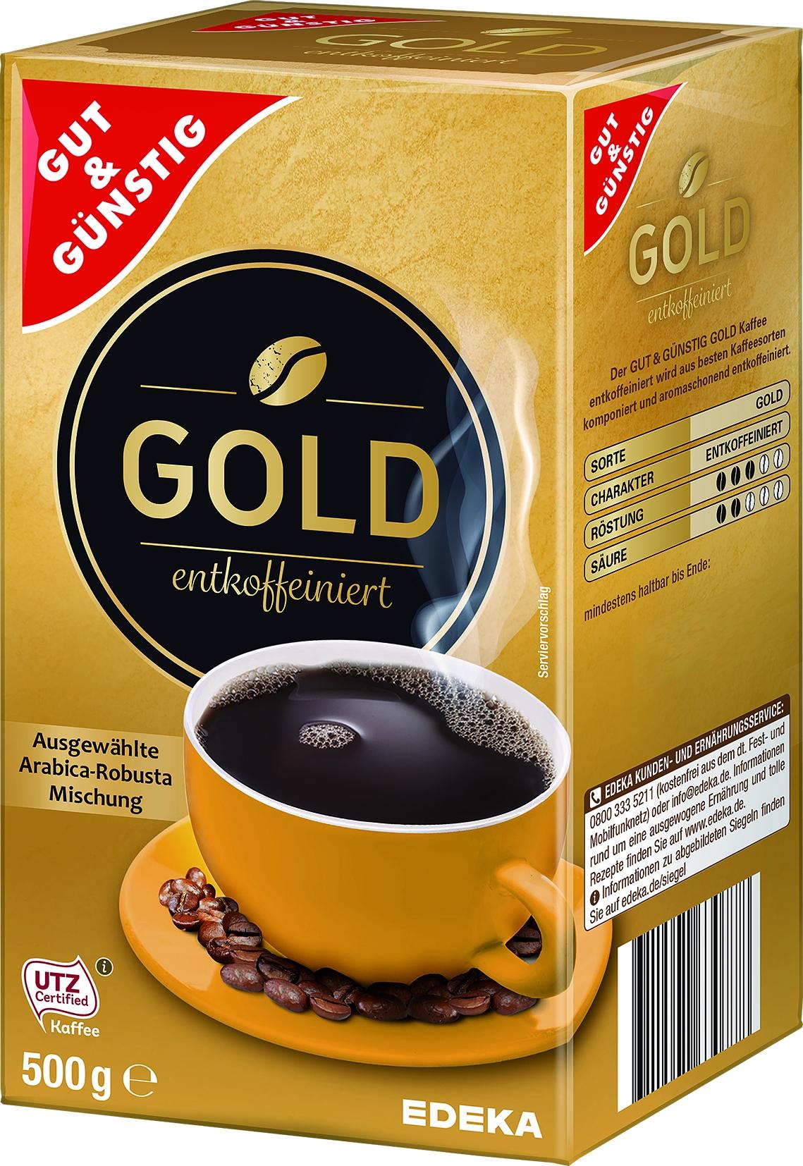 Roestkaffee Gold entkoffeiniert gemahlen