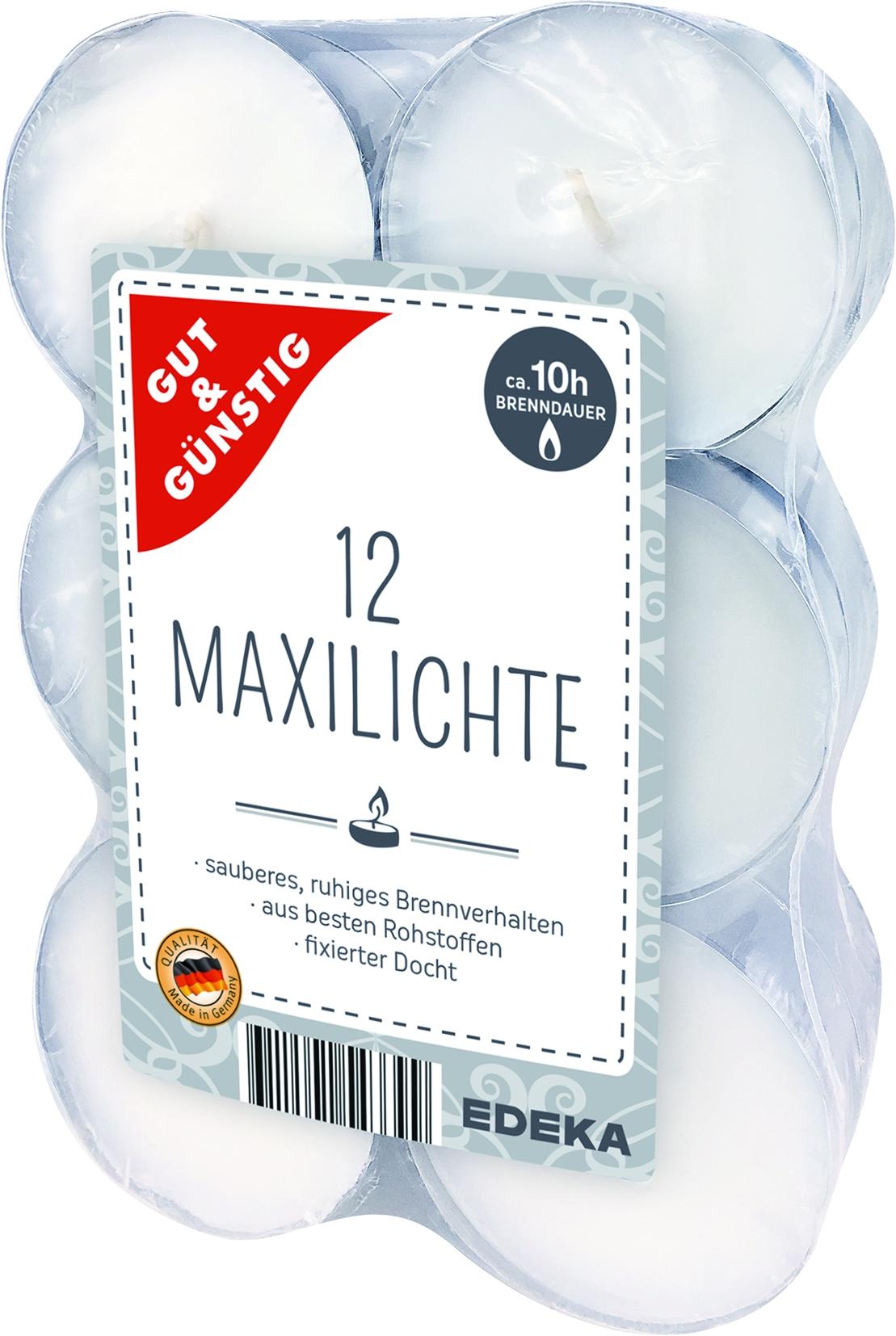 Teelicher Maxi weiss 12er