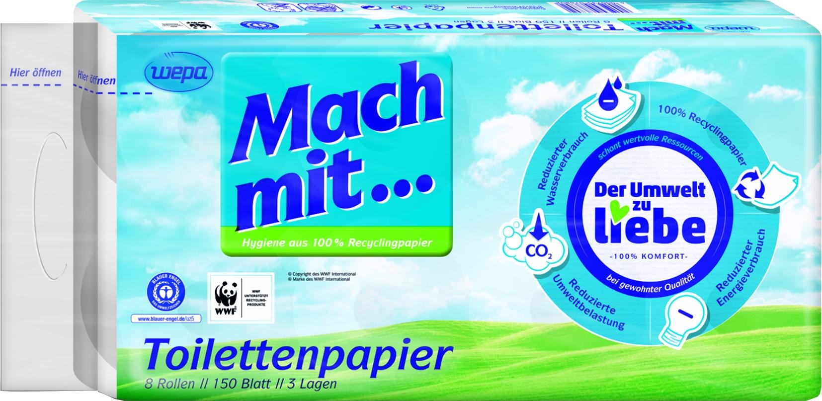 Toilettenpapier 3-lagig 8x150 Blatt