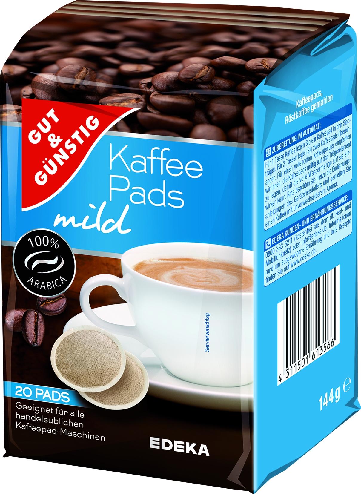 Kaffee Pads mild