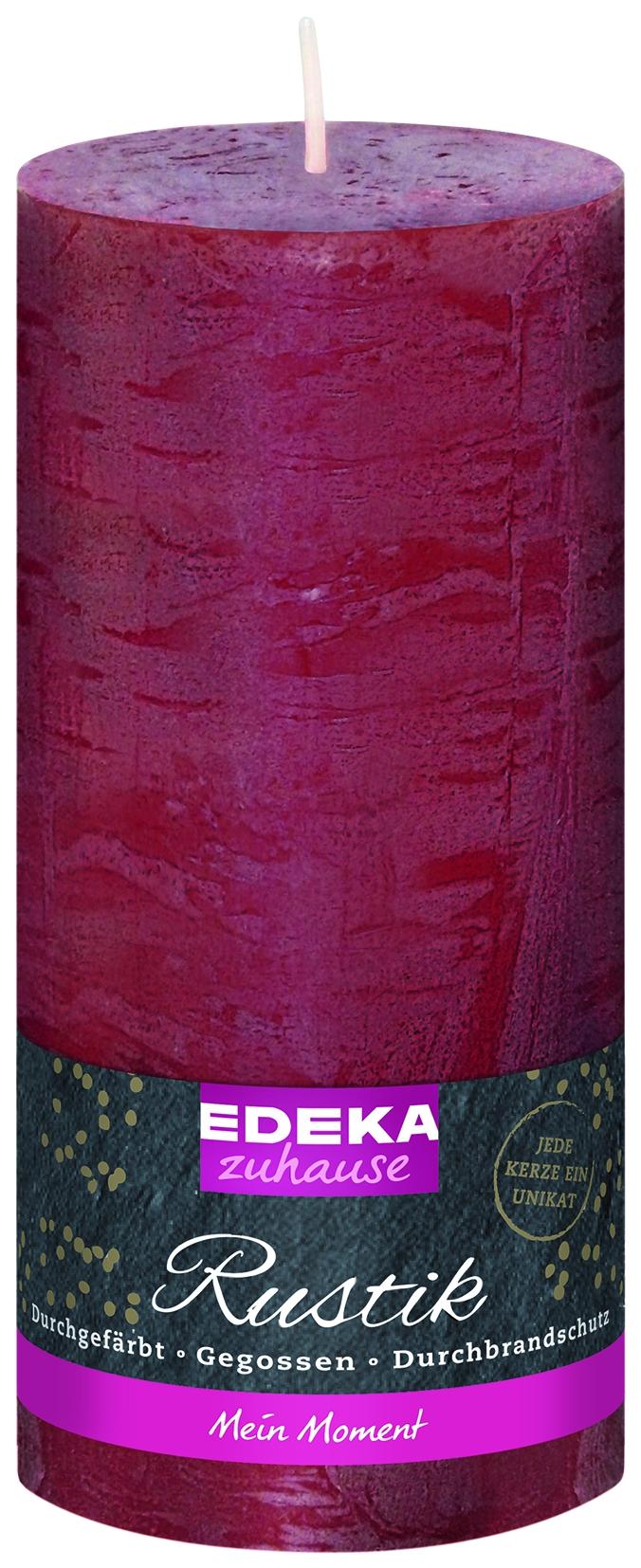 Stumpenkerze Rustik bordeaux 160x70mm