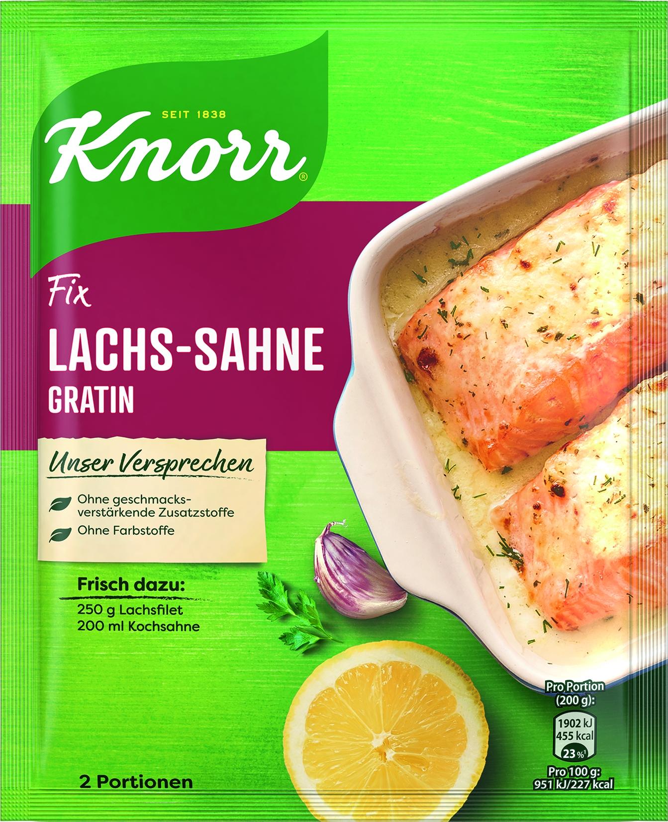 Fix fuer Lachs-Sahne-Gratin