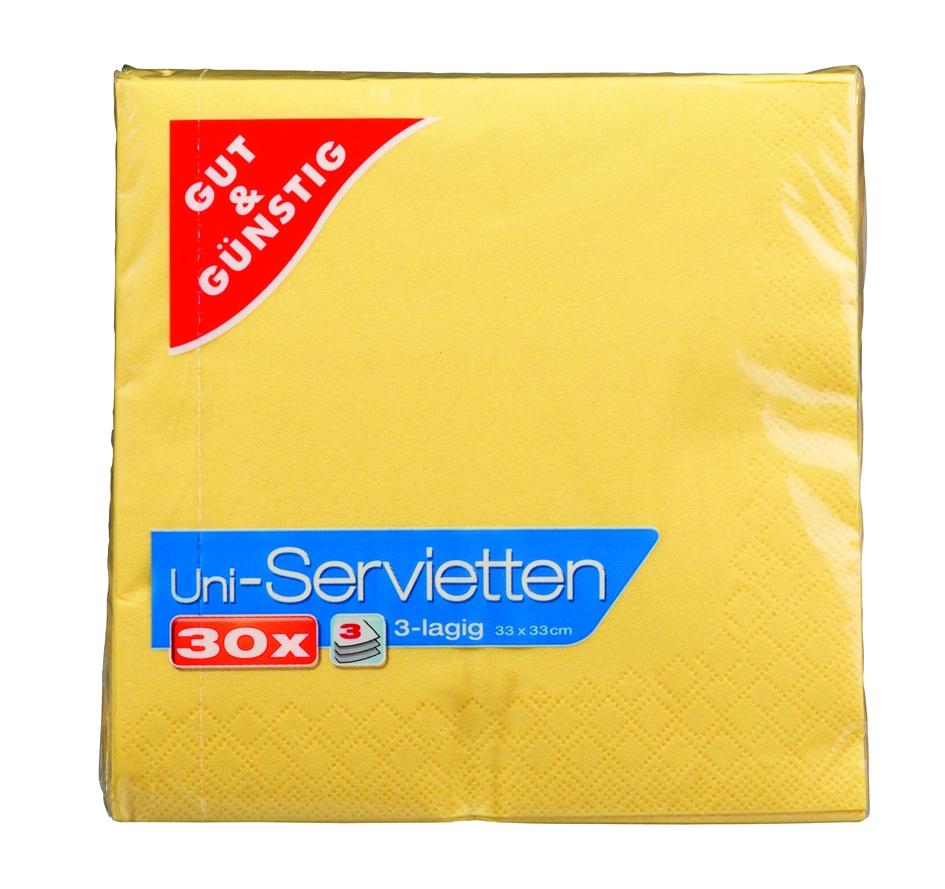Servietten gelb, 33x33cm, 3-lag., 30St.