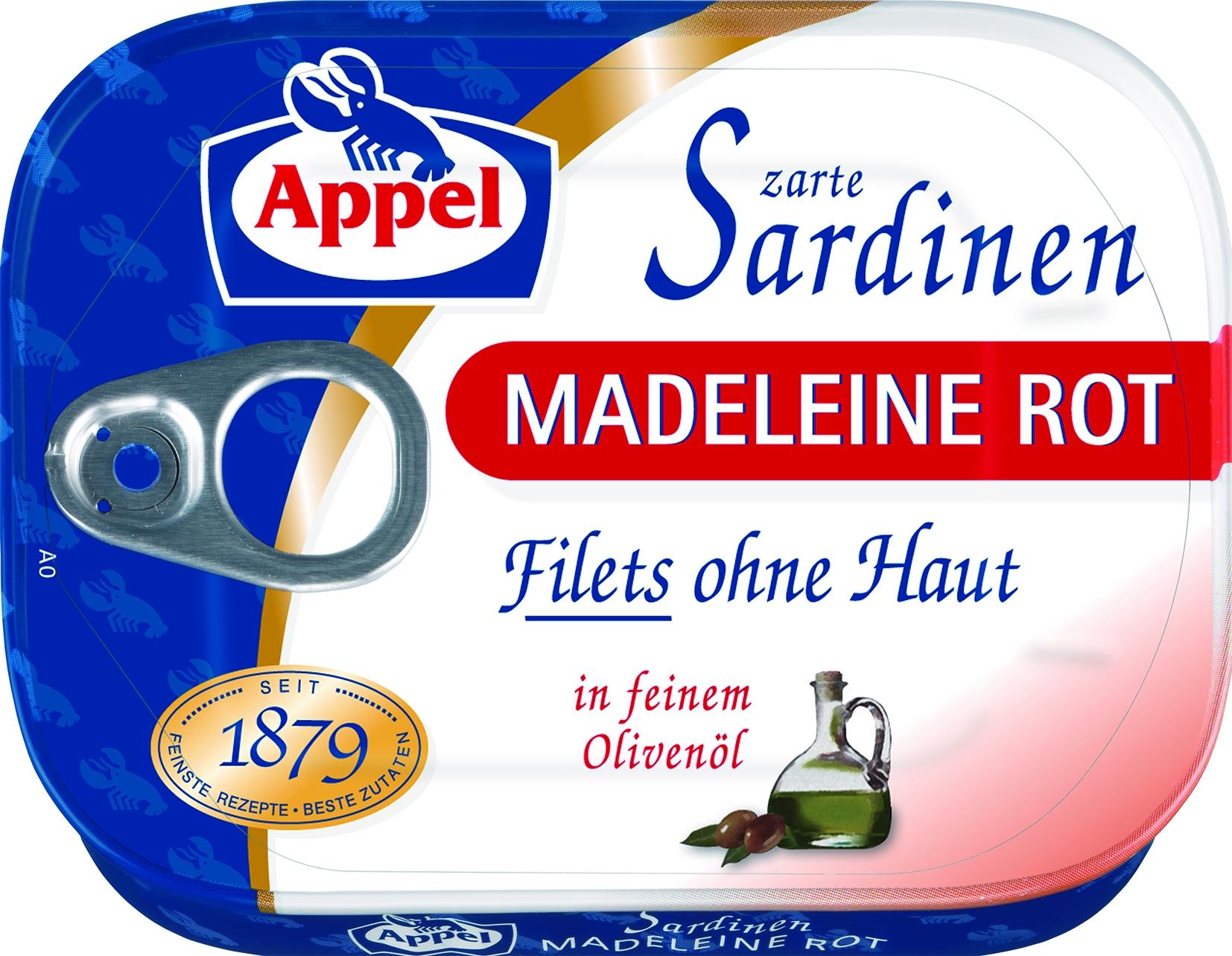 Sardinenfilets in Olivenöl Madeleine rot