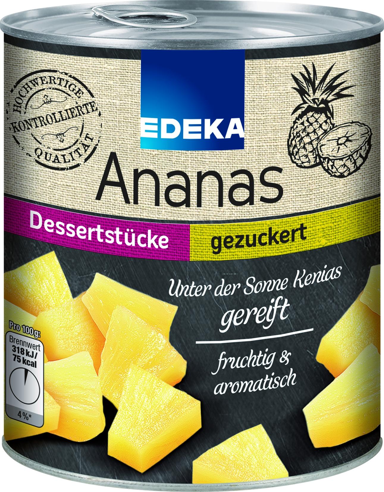 Ananas in Stuecken gezuckert
