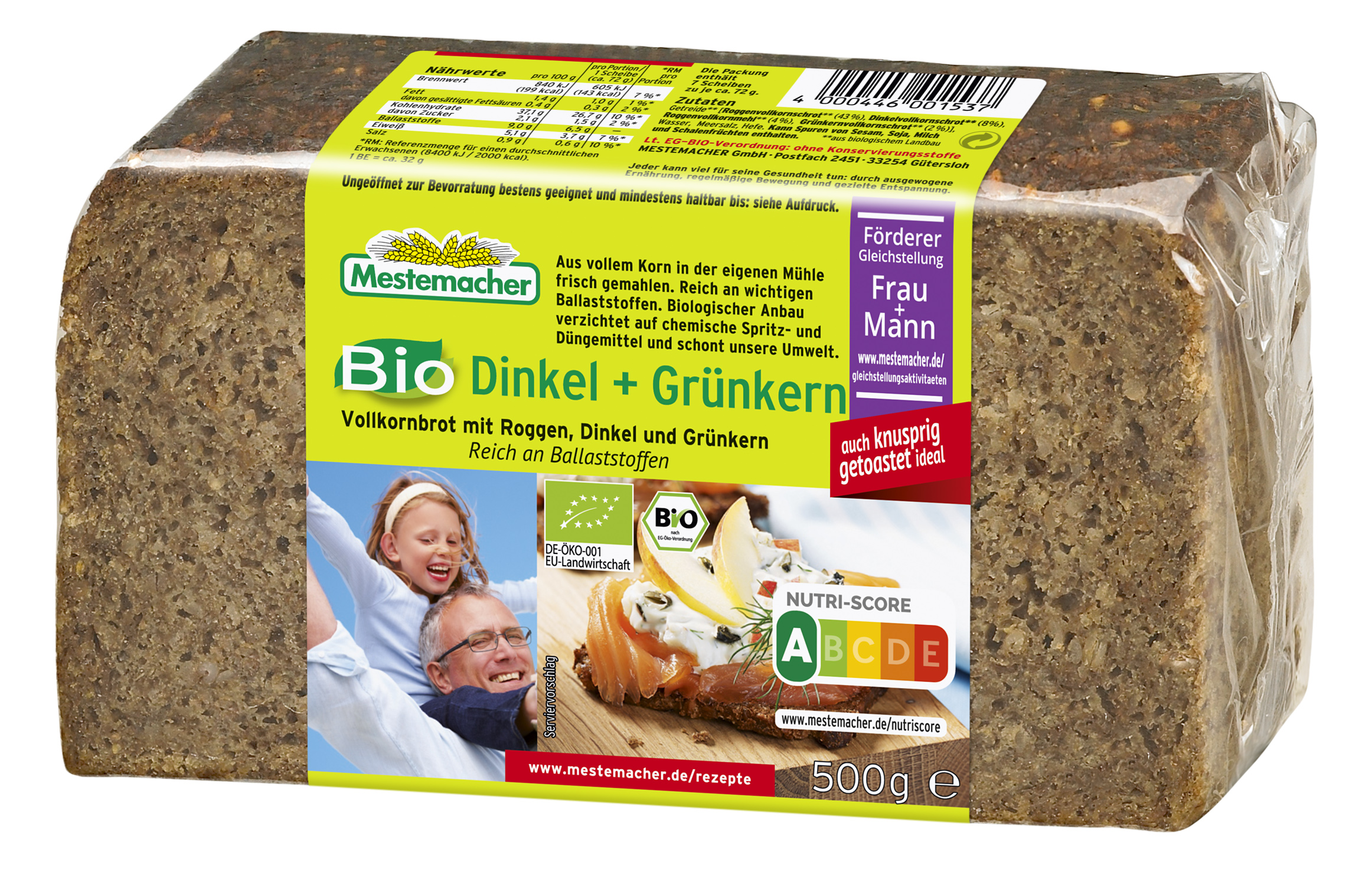 Bio Gruenkern und Dinkel Brot