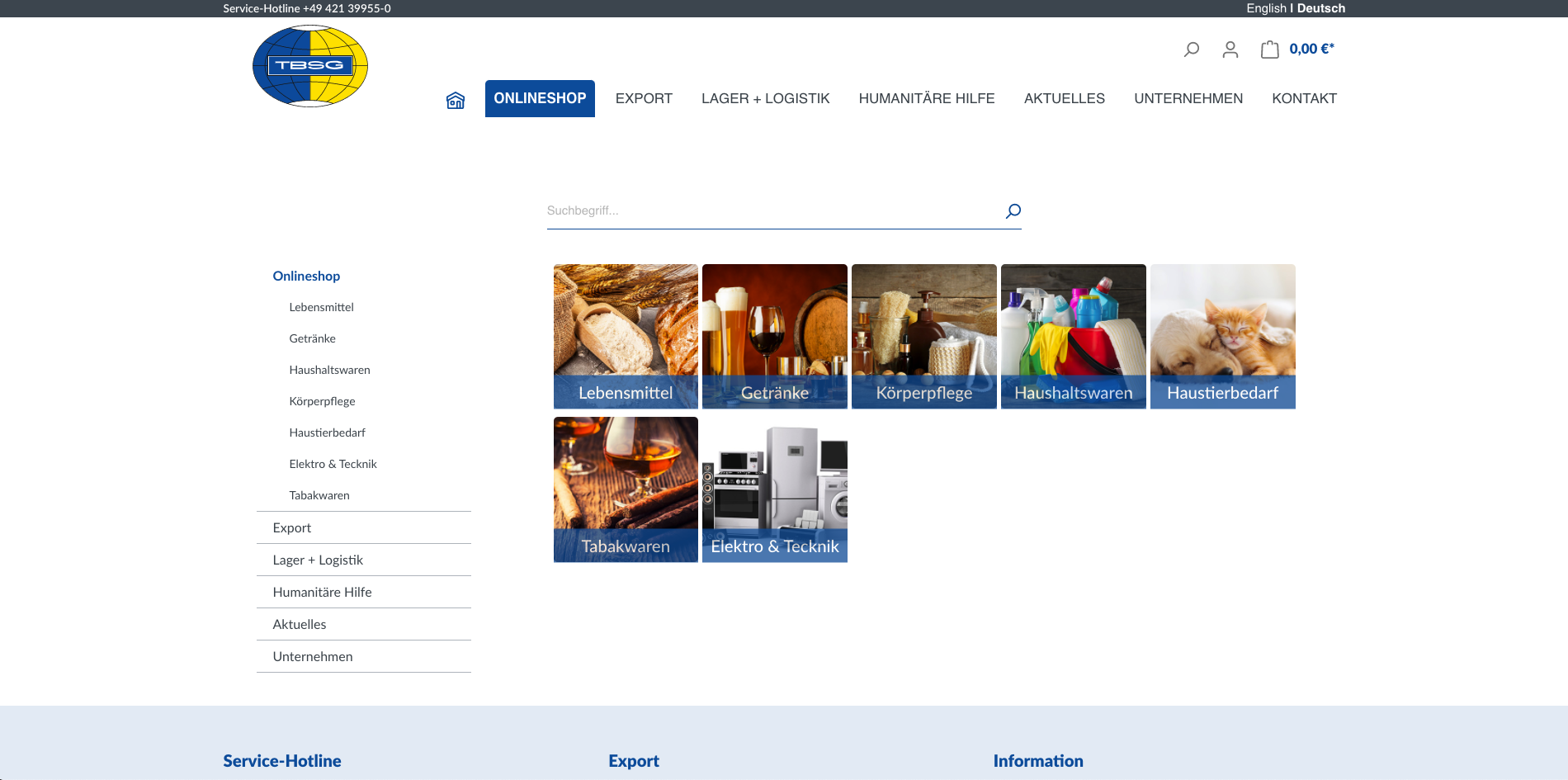 Der neue Online Shop von TBSG