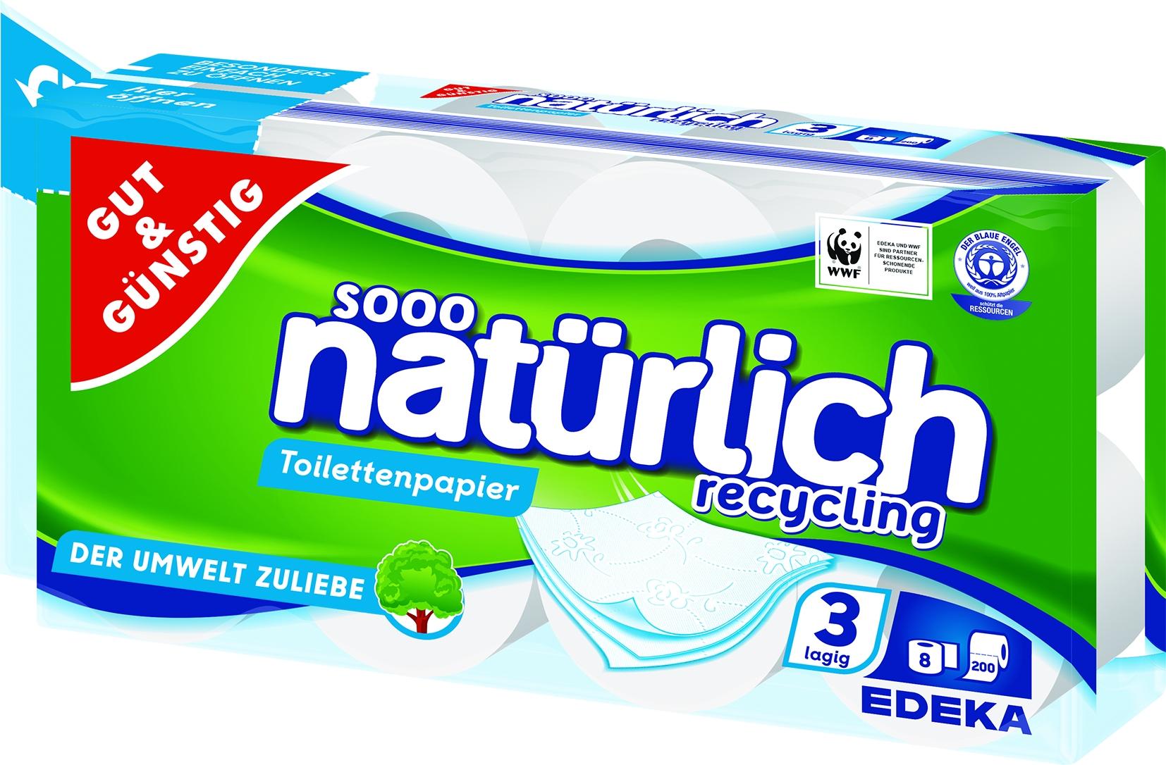 Toilettenpapier, 3-lag, Rec. 8x200Blatt