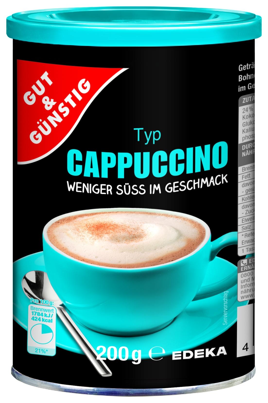 Cappuccino weniger Süß