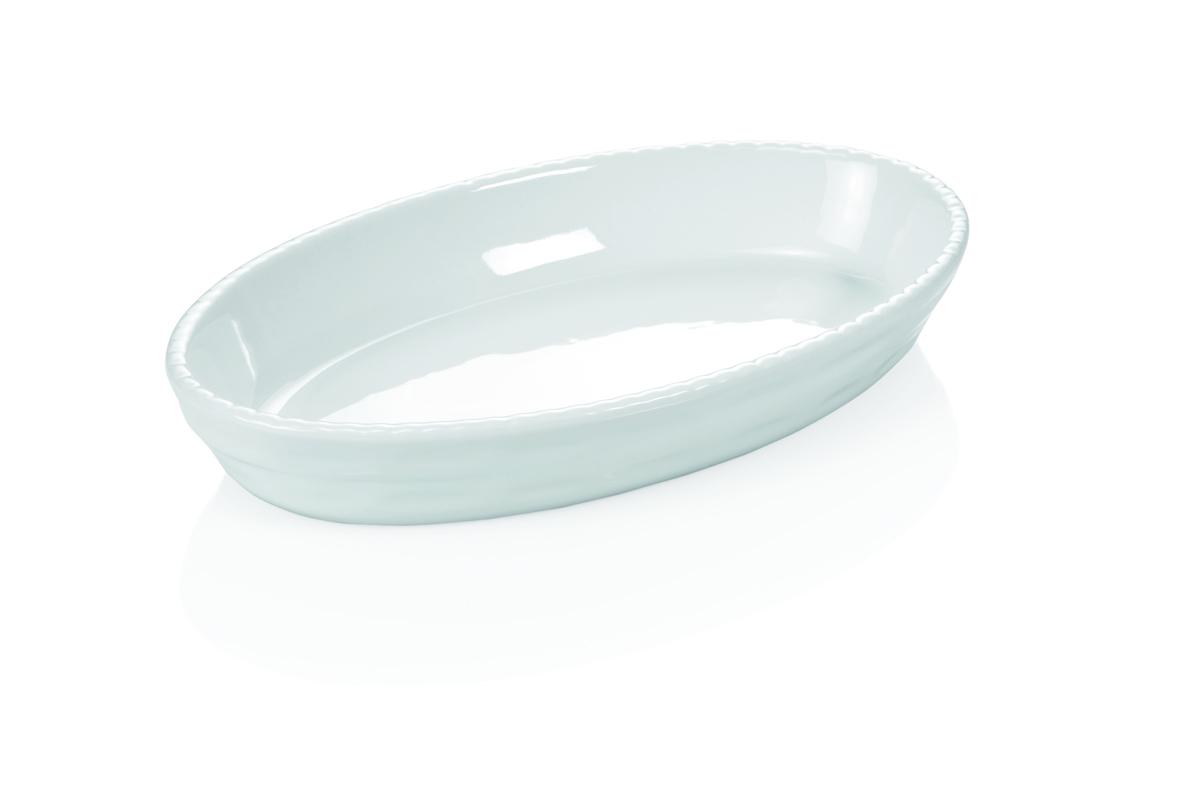 Backform aus Porzellan, 28x17x5 cm, weiß