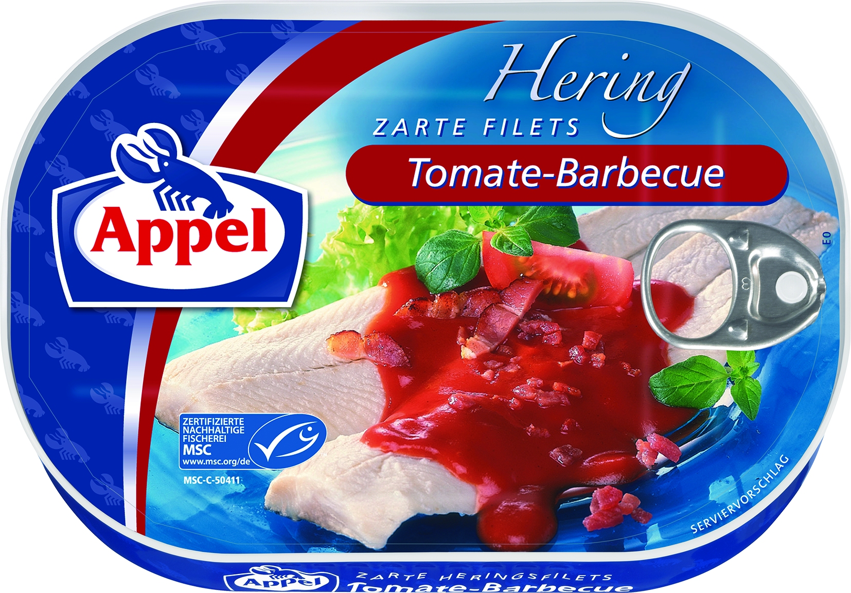 Herringsfilet in Tomaten-Barbeque-Sauce