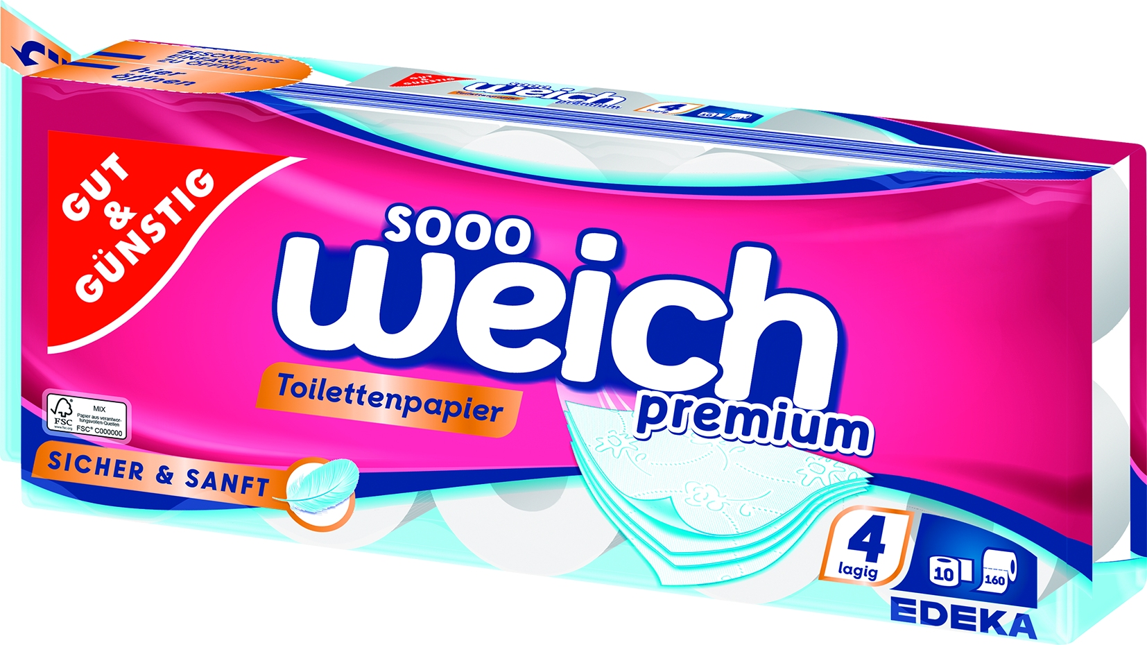 Toilettenpapier Premium 4-lag.10x160Bl.