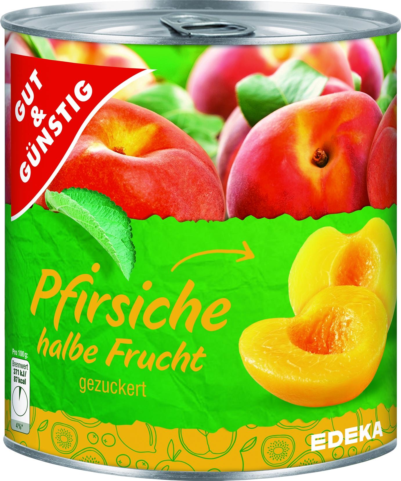 Pfirsiche 1/2 Frucht gezuckert