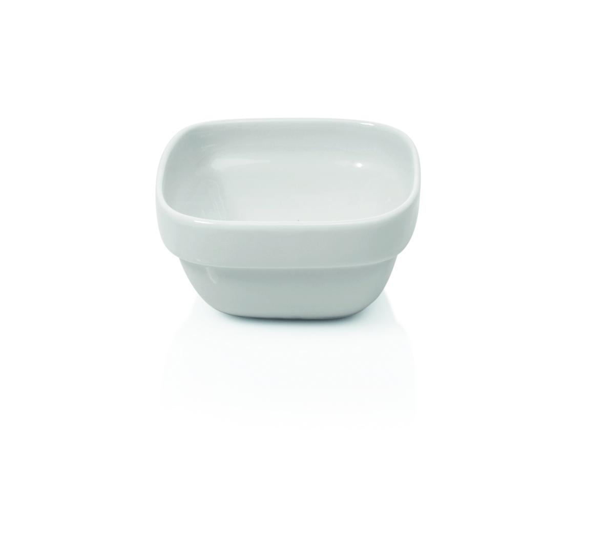 Schale aus Porzellan, viereckig 10x10x5,5 cm, 0,22 ltr weiß